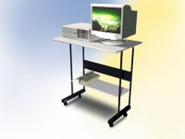 Small computer table with computer 3d model