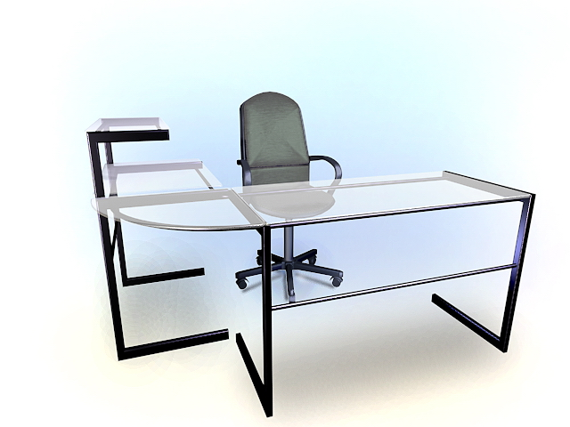 this modern glass office desk 3d model available in 3dsmax and autocad