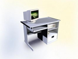 Computer desk furniture 3d model