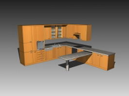 Kitchen cabinet with countertop 3d model
