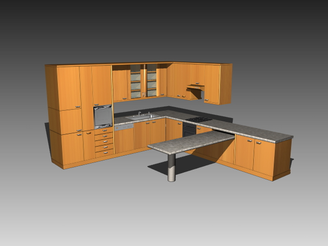 Kitchen cabinet with countertop 3d model 3dsmax 3ds for Autocad kitchen cabinets