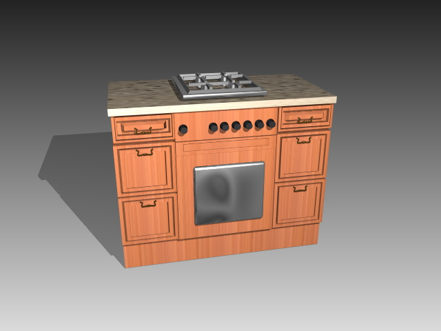 Gentil Kitchen Cabinet Built In Stove 3D Model