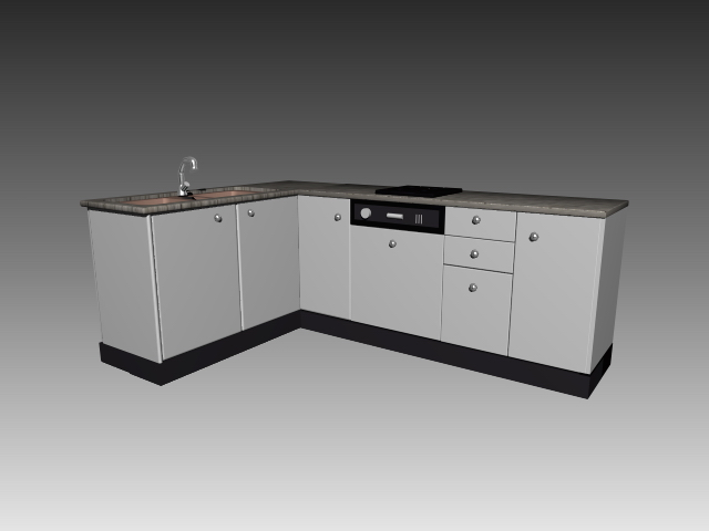L Shaped Kitchen Cabinet Units 3d Model 3dsmax 3ds Autocad Files Free Download Modeling 17591