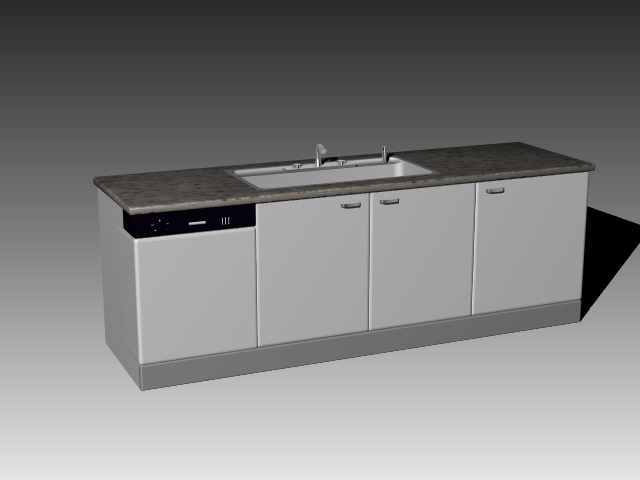 Kitchen countertop and sink 3d model 3dsmax 3ds autocad for Autocad kitchen cabinets