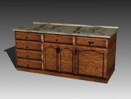 Vintage kitchen countertop 3d model