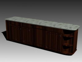 Antique kitchen counter 3d model