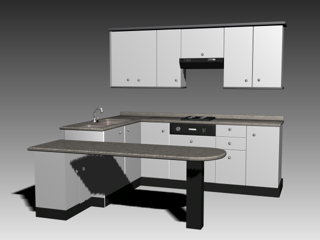 Silver kitchen cabinet 3d model 3dsmax 3ds autocad files - Kitchen design software free download 3d ...
