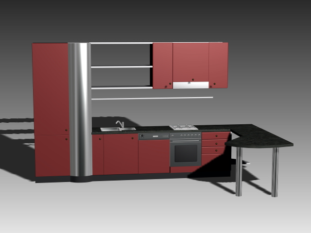 Rustic red kitchen cabinets 3d model 3dsmax 3ds autocad - Kitchen design software free download 3d ...