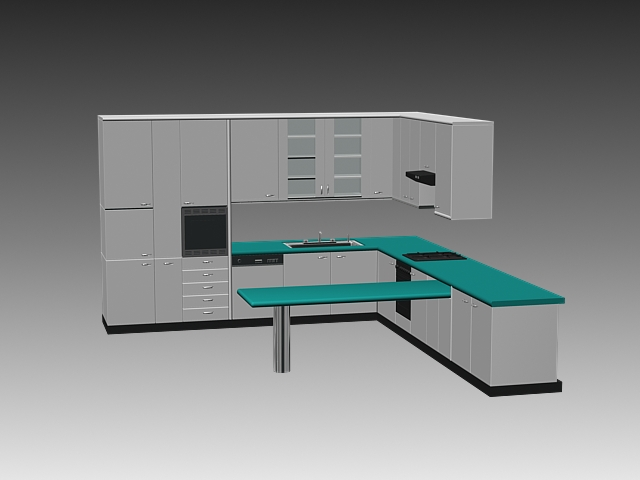 Modern l kitchen cabinets 3d model 3dsmax 3ds autocad for Autocad kitchen cabinets
