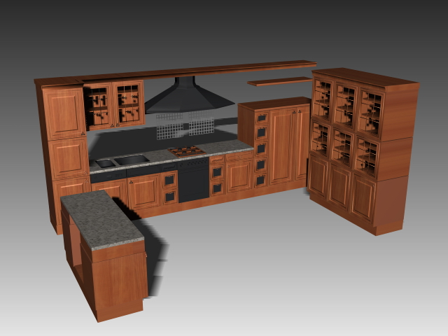 u shaped kitchen cabinets 3d model 3dsmax 3ds autocad