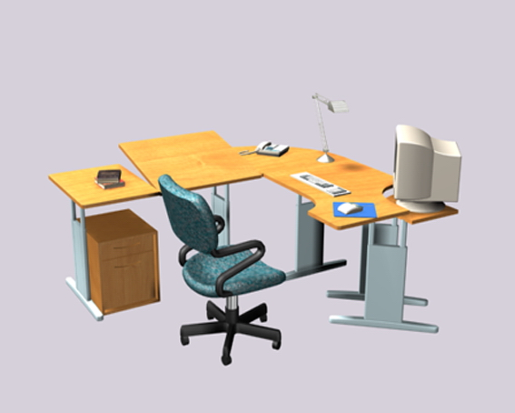 Colorful Office Desk Units 3D Model