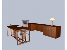 Classic office desk and cabinet 3d model