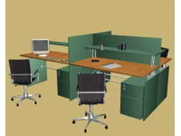 Office partition workstation 3d model