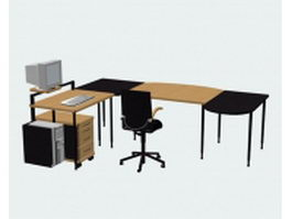 Office computer desk sets 3d model