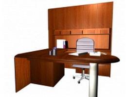 U shaped executive desk sets 3d model