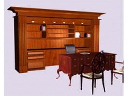 Vintage executive desk sets 3d model