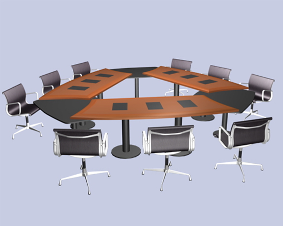 Modular conference room furniture 3d model 3dsmax files for Meeting table design 3d