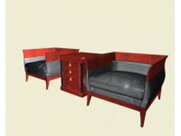 Vintage sofa chairs for office 3d model