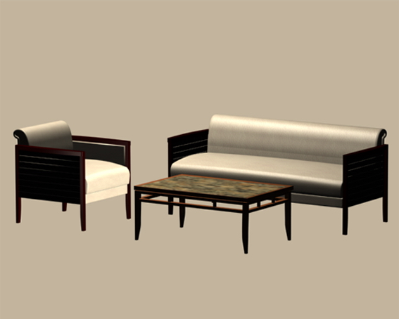 Office sofa set 3d model - CadNav