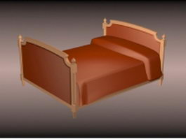 Classic style single bed 3d model