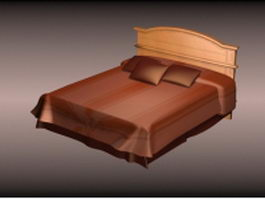 Wood double platform bed 3d model