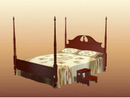 Vienne french four-poster bed 3d model