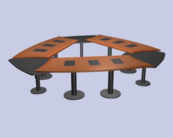 Triangle meeting table 3d model 3dsmax files free download for Meeting table design 3d