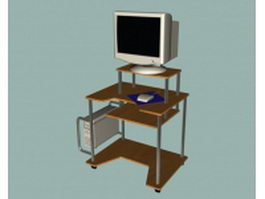 Simple computer table with computer 3d model