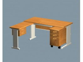 Modern L shaped office desk 3d model