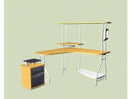 L shaped office table with shelves 3d model