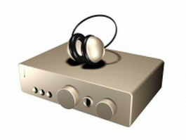 Audio amplifier and Headphone 3d model