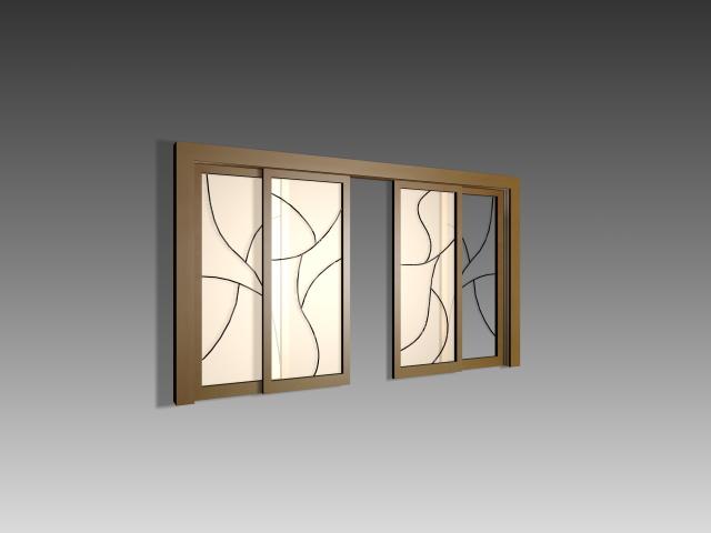 Art glass partition door 3d model 3dsmax 3ds autocad files for Sliding glass doors autocad