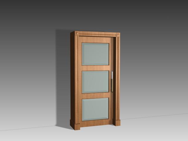 Delightful 3 Panel Glass Door 3D Model