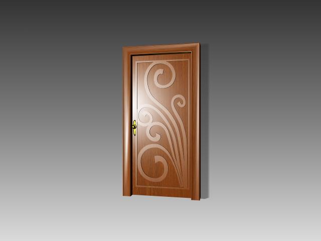 Wood Door With Flower Paint 3d Model 3dsmax 3ds Autocad
