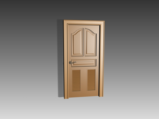 Wood panel door with shutter inserts 3d model 3dsmax 3ds for Door models for house
