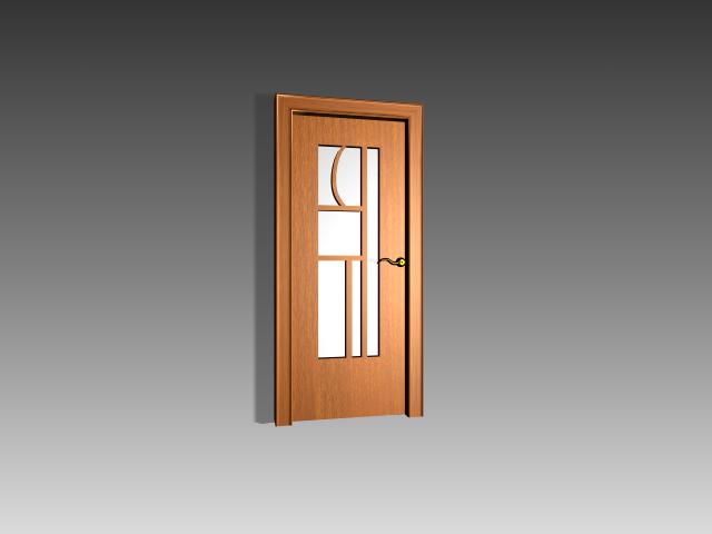 Interior Wood Door With Glass 3d Model 3dsmax 3ds Autocad