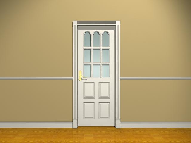 White Bedroom Door With Glass 3d Model 3dsMax Files Free
