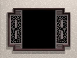 Chinese garden latice window 3d model
