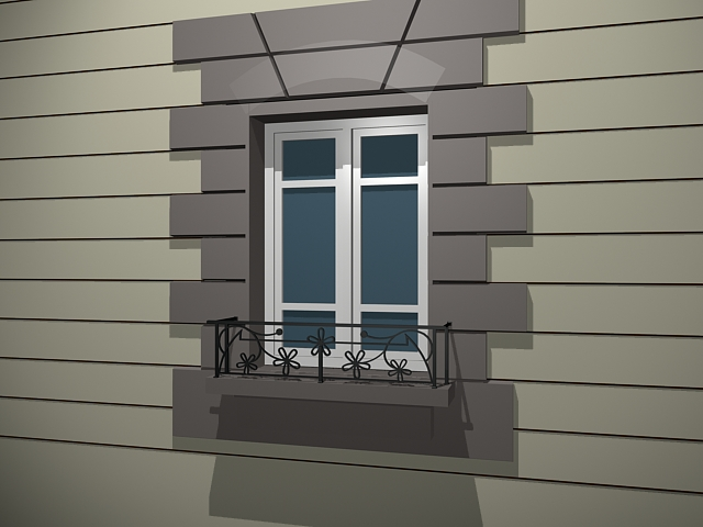 Aluminum window with balcony 3d model 3dsmax files free for Balcony models