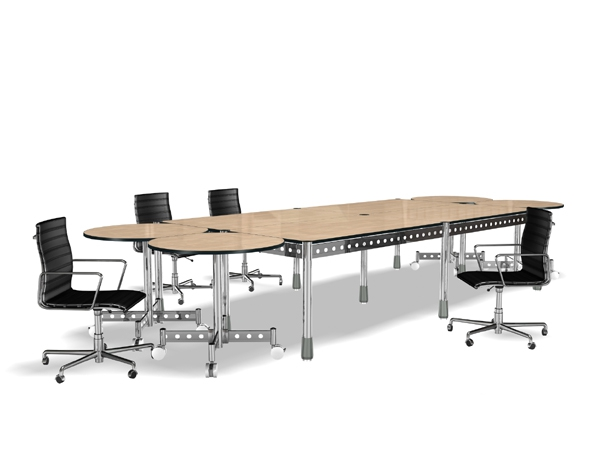 MDF And Stainless Steel Meeting Table Collection 3D Model
