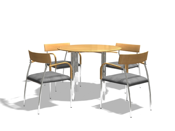 Round meeting desk and chairs 3d model 3dsMax files free download