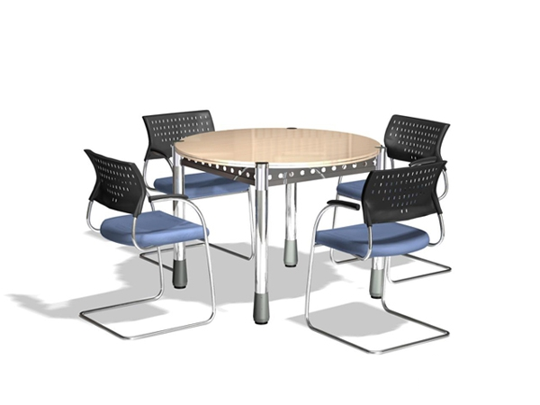 small round meeting table and chairs 3d model - Small Conference Table