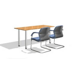Office working table and chairs 3d model