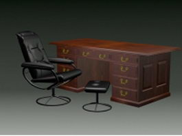 Antique executive desk and chair 3d model
