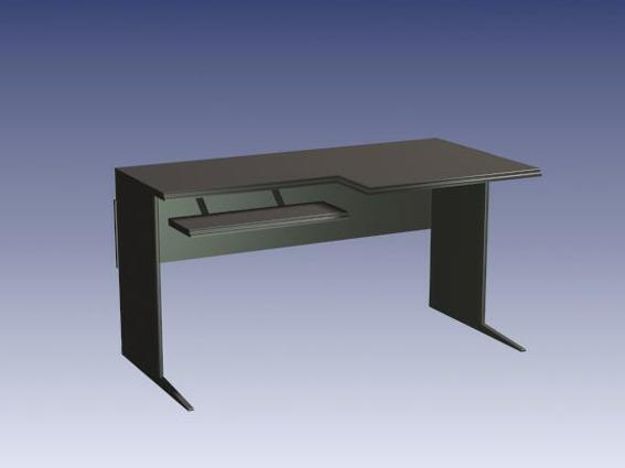 Computer desk with keyboard tray 3d model - CadNav
