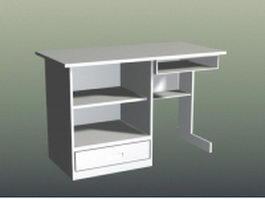 White modern computer desk 3d model