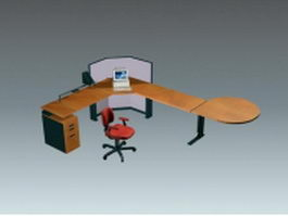 L shaped workstation table and chair 3d model