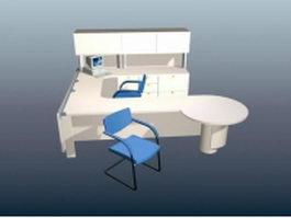U shaped workstation with hutch 3d model
