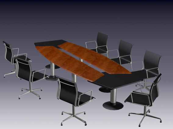 Modern meeting table and chairs 3d model 3dsmax 3ds files for Meeting table design 3d