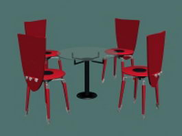 Round glass meeting table and chairs 3d model